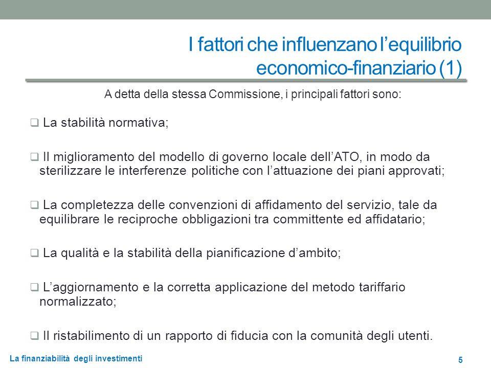 La finanziabilità degli investimenti I fattori che influenzano lequilibrio economico-finanziario (2) La legge regionale n.