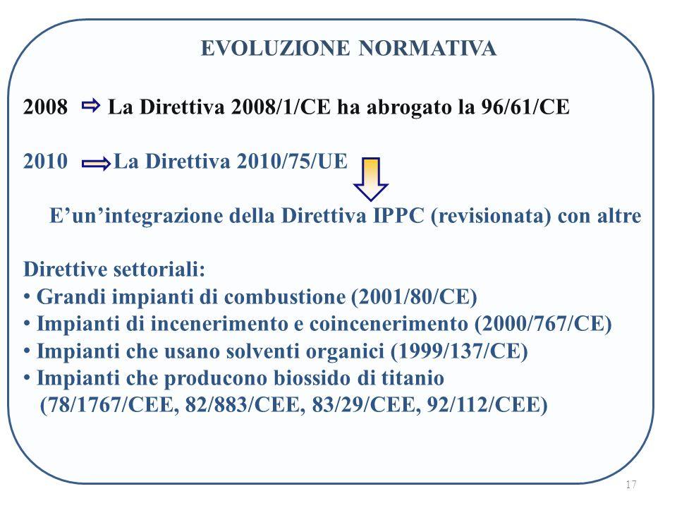 17 2008 La Direttiva 2008/1/CE ha abrogato la 96/61/CE 2010 La Direttiva 2010/75/UE Eunintegrazione della Direttiva IPPC (revisionata) con altre Direttive settoriali: Grandi impianti di combustione (2001/80/CE) Impianti di incenerimento e coincenerimento (2000/767/CE) Impianti che usano solventi organici (1999/137/CE) Impianti che producono biossido di titanio (78/1767/CEE, 82/883/CEE, 83/29/CEE, 92/112/CEE) EVOLUZIONE NORMATIVA