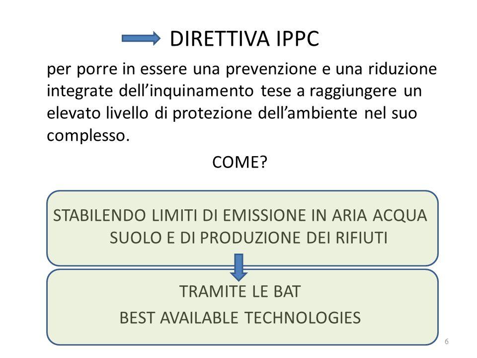 DIRETTIVA IPPC per porre in essere una prevenzione e una riduzione integrate dellinquinamento tese a raggiungere un elevato livello di protezione dellambiente nel suo complesso.