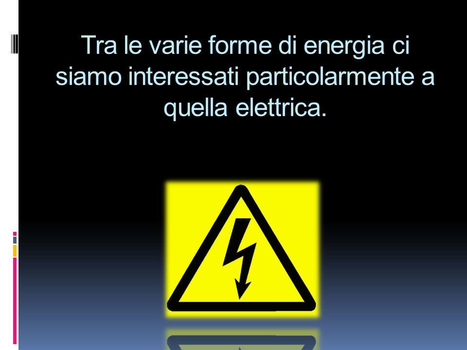 Tra le varie forme di energia ci siamo interessati particolarmente a quella elettrica.