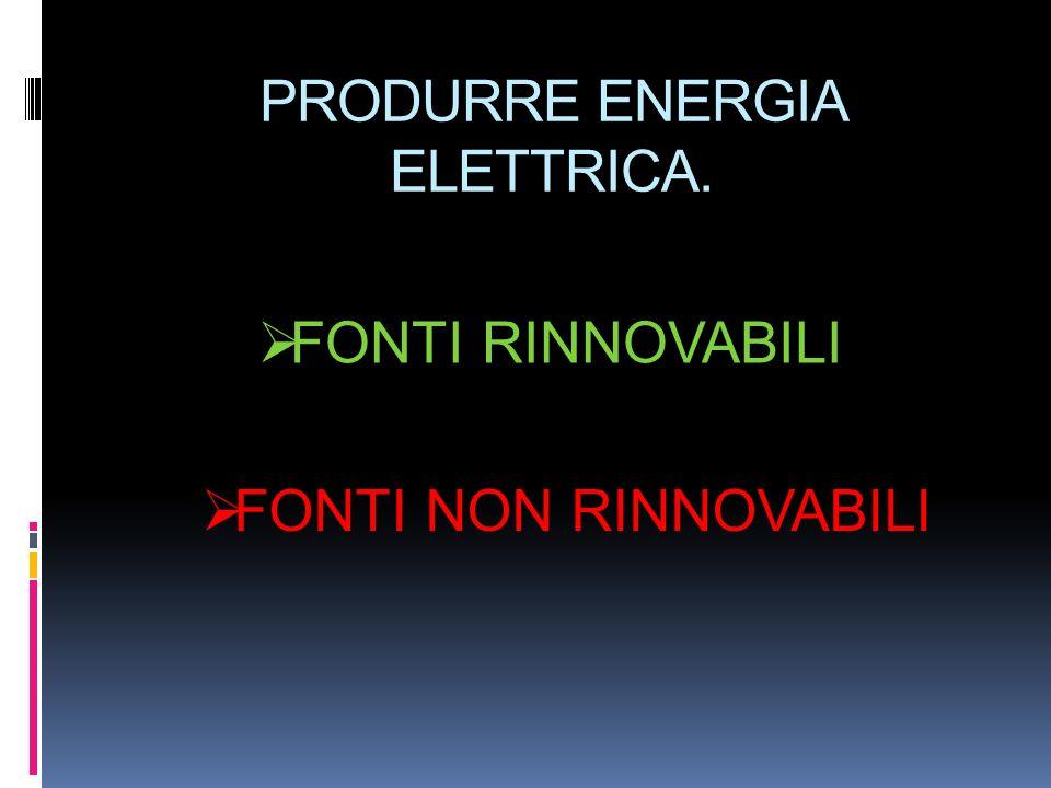 PRODURRE ENERGIA ELETTRICA. FONTI RINNOVABILI FONTI NON RINNOVABILI