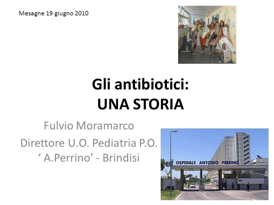 Gli antibiotici: UNA STORIA Fulvio Moramarco Direttore U.O. Pediatria P.O. A.Perrino - Brindisi Mesagne 19 giugno 2010