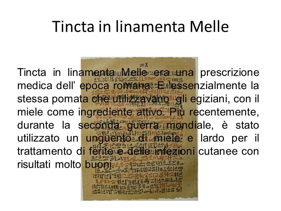 Tincta in linamenta Melle Tincta in linamenta Melle era una prescrizione medica dell epoca romana. E 'essenzialmente la stessa pomata che utilizzavano