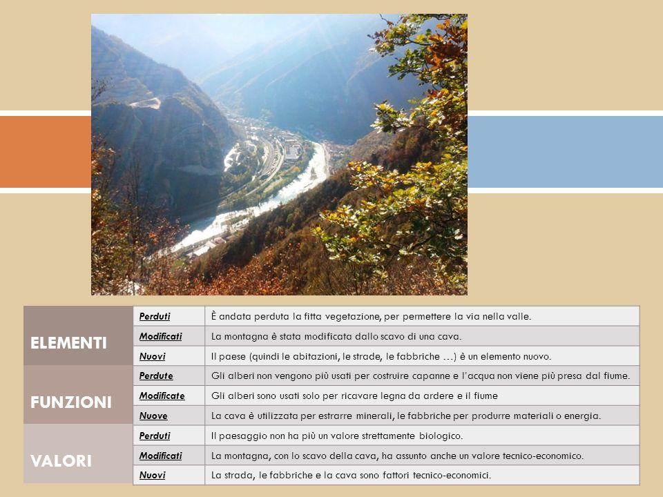 FUNZIONI VALORI PerdutiÈ andata perduta la fitta vegetazione, per permettere la via nella valle. ModificatiLa montagna è stata modificata dallo scavo