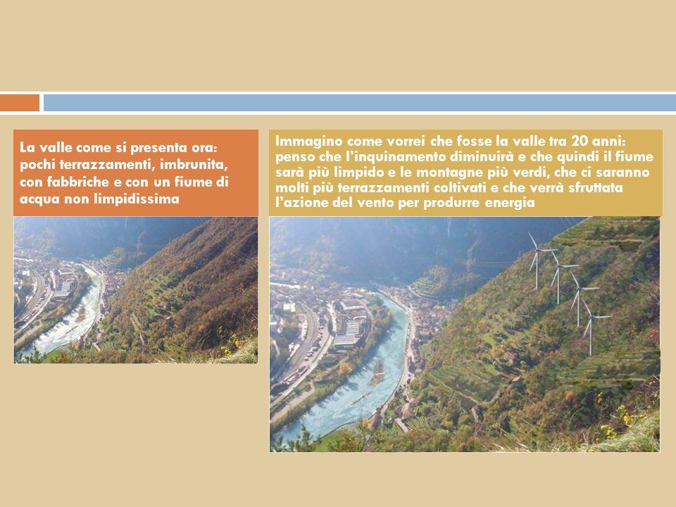 La valle come si presenta ora: pochi terrazzamenti, imbrunita, con fabbriche e con un fiume di acqua non limpidissima Immagino come vorrei che fosse l