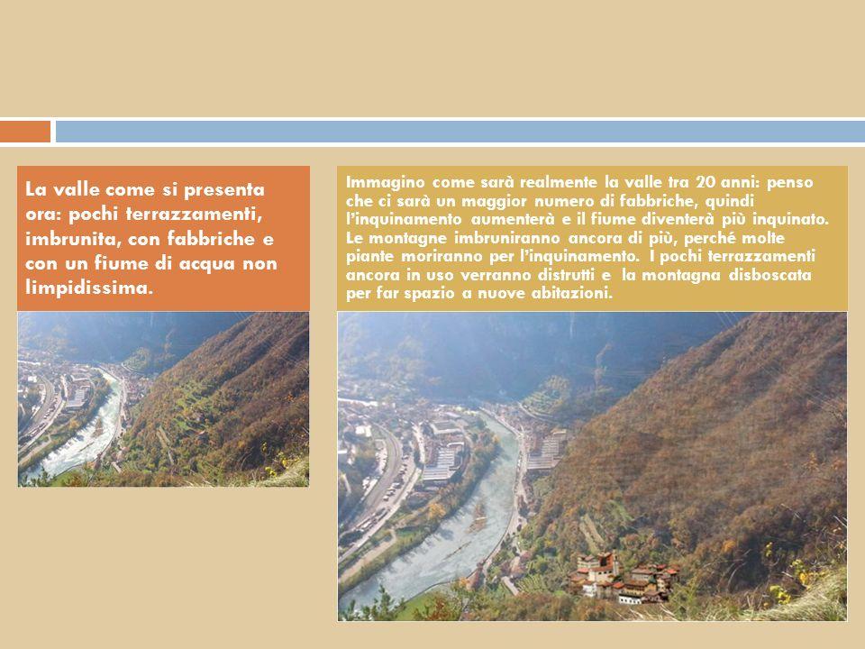 La valle come si presenta ora: pochi terrazzamenti, imbrunita, con fabbriche e con un fiume di acqua non limpidissima. Immagino come sarà realmente la