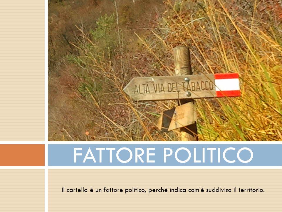 Il cartello è un fattore politico, perché indica comè suddiviso il territorio. FATTORE POLITICO