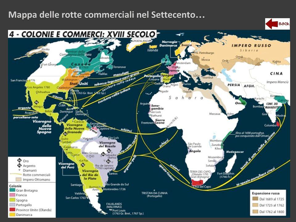 Mappa delle rotte commerciali nel Settecento …