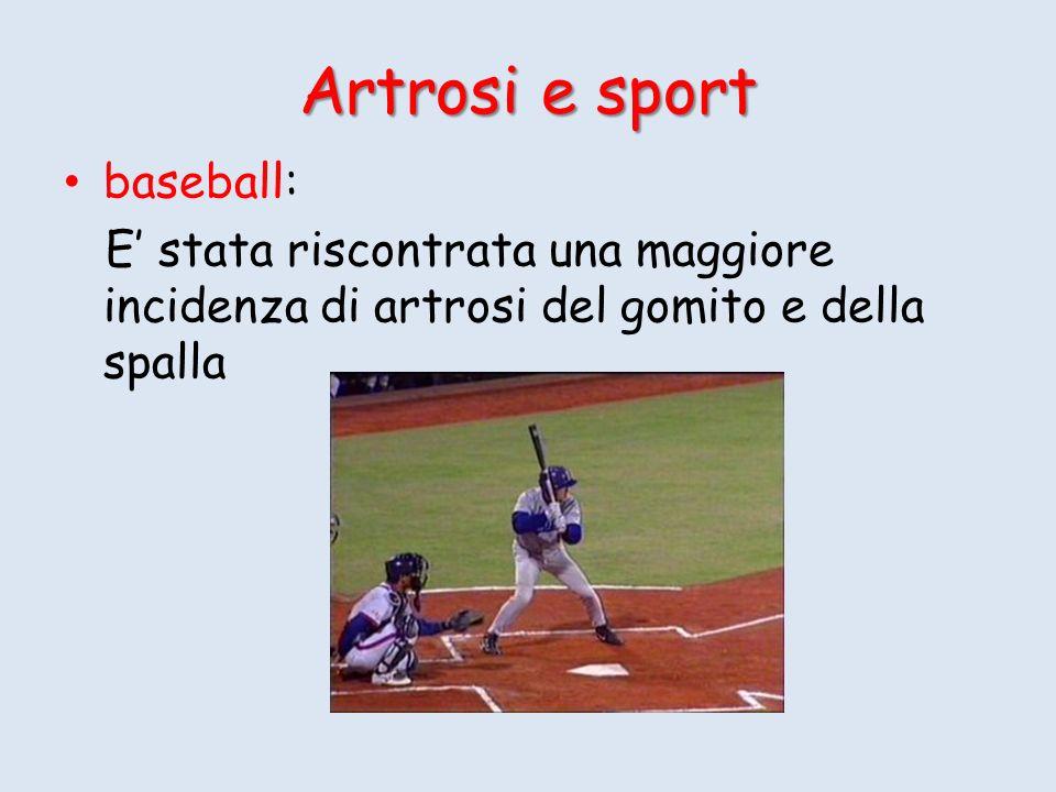 Artrosi e sport baseball: E stata riscontrata una maggiore incidenza di artrosi del gomito e della spalla