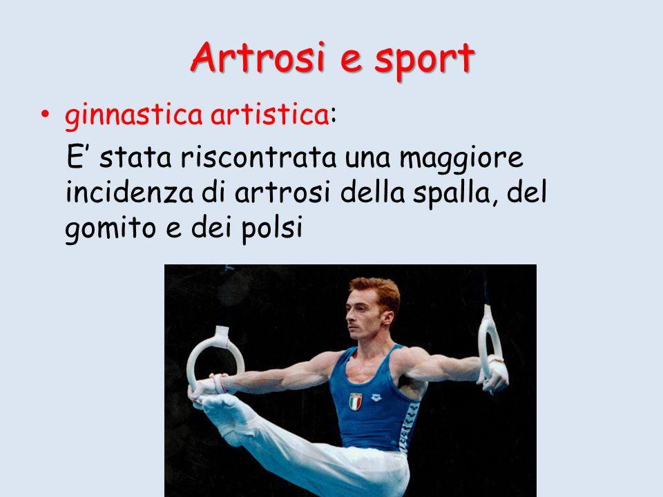 Artrosi e sport ginnastica artistica: E stata riscontrata una maggiore incidenza di artrosi della spalla, del gomito e dei polsi