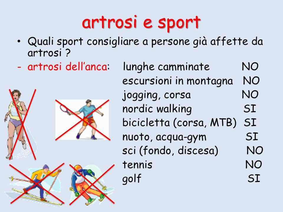 artrosi e sport Quali sport consigliare a persone già affette da artrosi ? -artrosi dellanca: lunghe camminate NO escursioni in montagna NO jogging, c