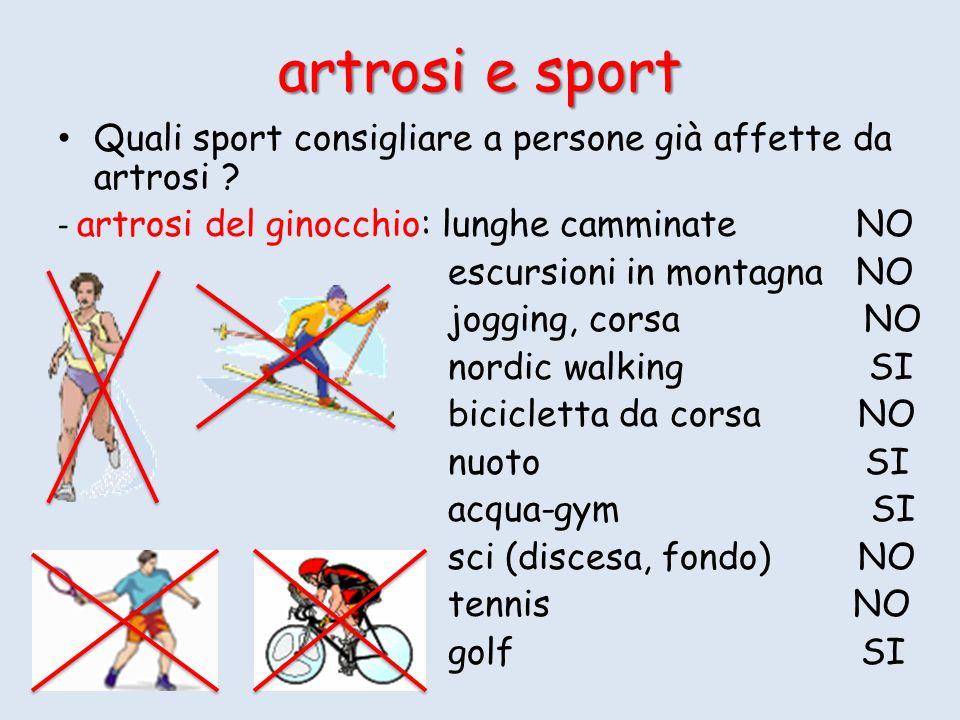Quali sport consigliare a persone già affette da artrosi ? - artrosi del ginocchio: lunghe camminate NO escursioni in montagna NO jogging, corsa NO no