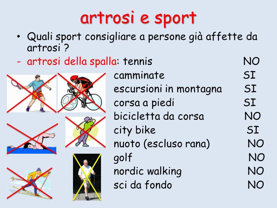 Quali sport consigliare a persone già affette da artrosi ? -artrosi della spalla: tennis NO camminate SI escursioni in montagna SI corsa a piedi SI bi