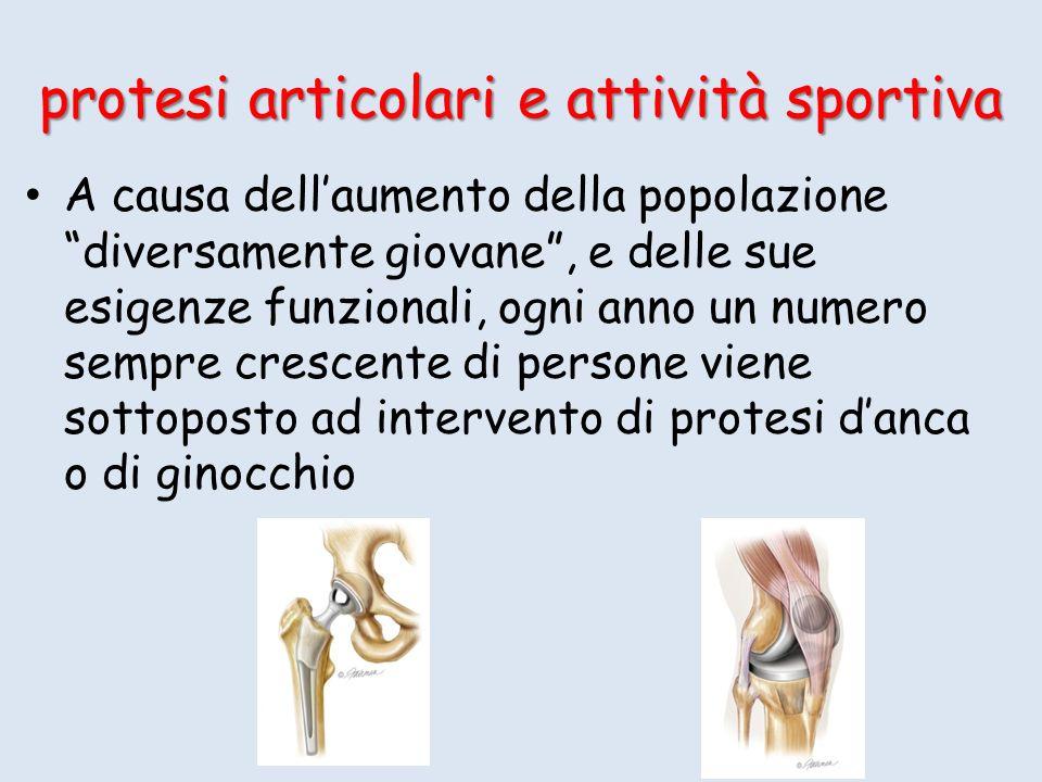 protesi articolari e attività sportiva A causa dellaumento della popolazione diversamente giovane, e delle sue esigenze funzionali, ogni anno un numer