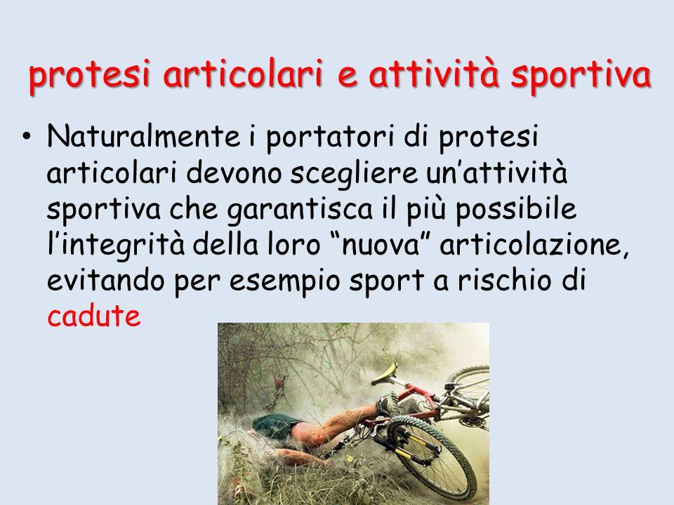 Naturalmente i portatori di protesi articolari devono scegliere unattività sportiva che garantisca il più possibile lintegrità della loro nuova articolazione, evitando per esempio sport a rischio di cadute protesi articolari e attività sportiva