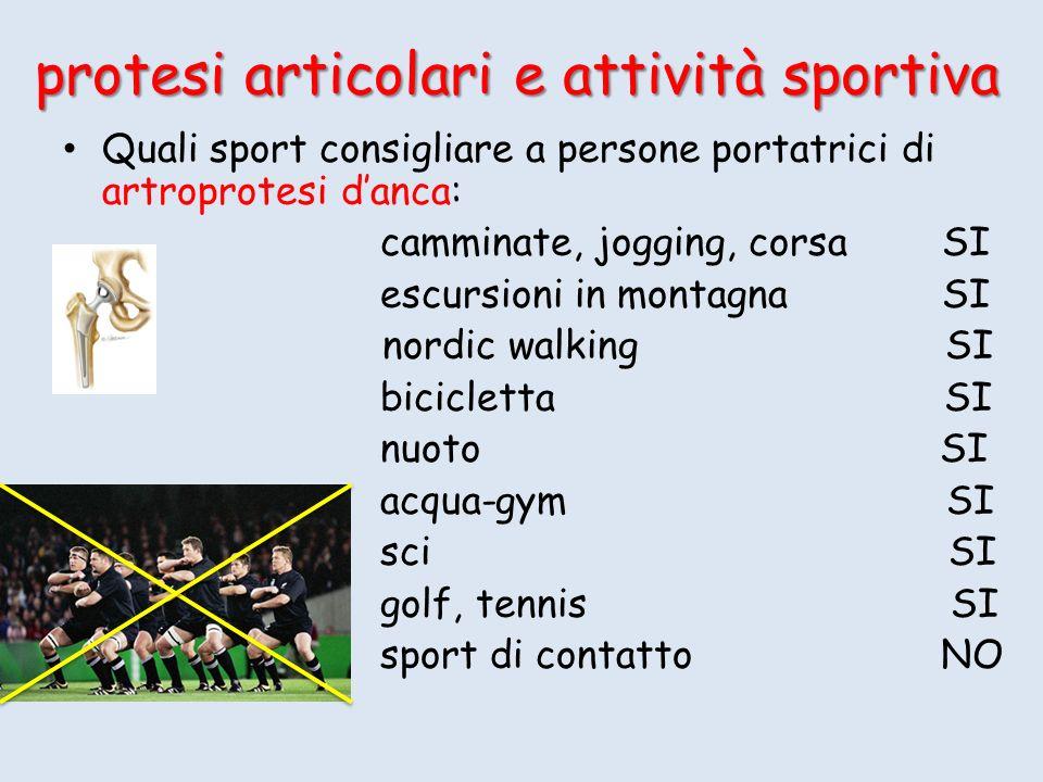 Quali sport consigliare a persone portatrici di artroprotesi danca: camminate, jogging, corsa SI escursioni in montagna SI SI nordic walking SI bicicl