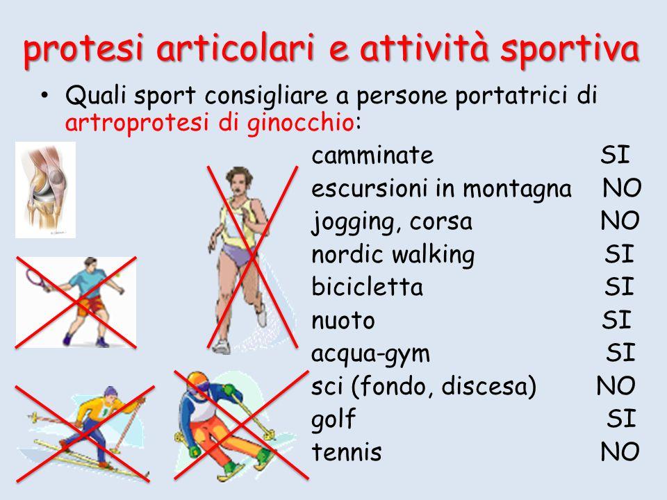 Quali sport consigliare a persone portatrici di artroprotesi di ginocchio: camminate SI escursioni in montagna NO jogging, corsa NO nordic walking SI