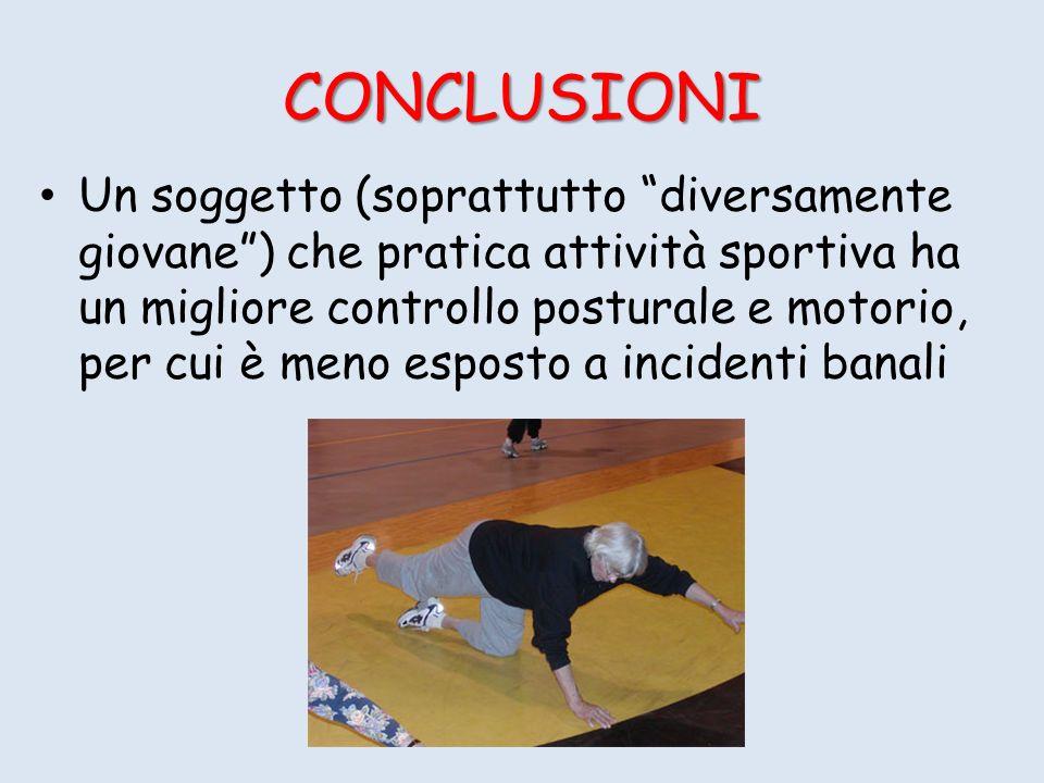 Un soggetto (soprattutto diversamente giovane) che pratica attività sportiva ha un migliore controllo posturale e motorio, per cui è meno esposto a incidenti banali CONCLUSIONI