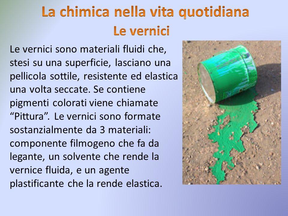 Le vernici sono materiali fluidi che, stesi su una superficie, lasciano una pellicola sottile, resistente ed elastica una volta seccate. Se contiene p