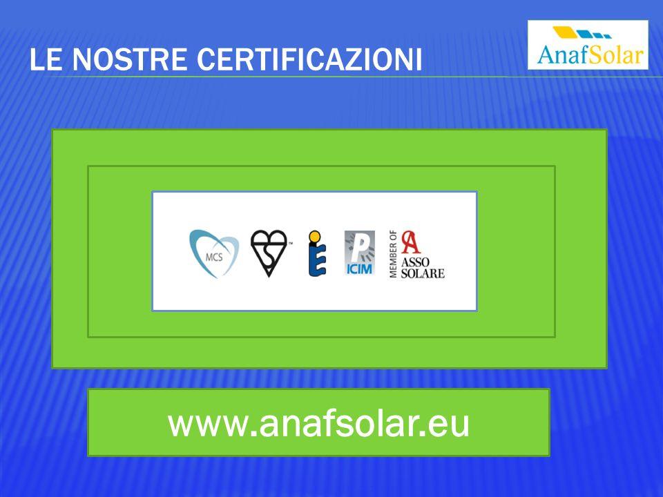 LE NOSTRE CERTIFICAZIONI www.anafsolar.eu