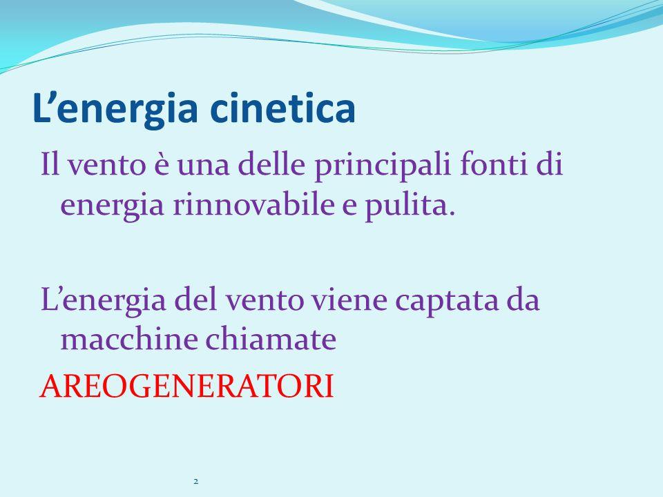 Lenergia cinetica Il vento è una delle principali fonti di energia rinnovabile e pulita. Lenergia del vento viene captata da macchine chiamate AREOGEN