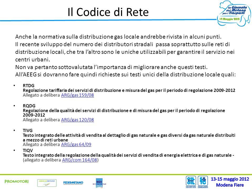 Il Codice di Rete RTDG Regolazione tariffaria dei servizi di distribuzione e misura del gas per il periodo di regolazione 2009-2012 Allegato a deliber