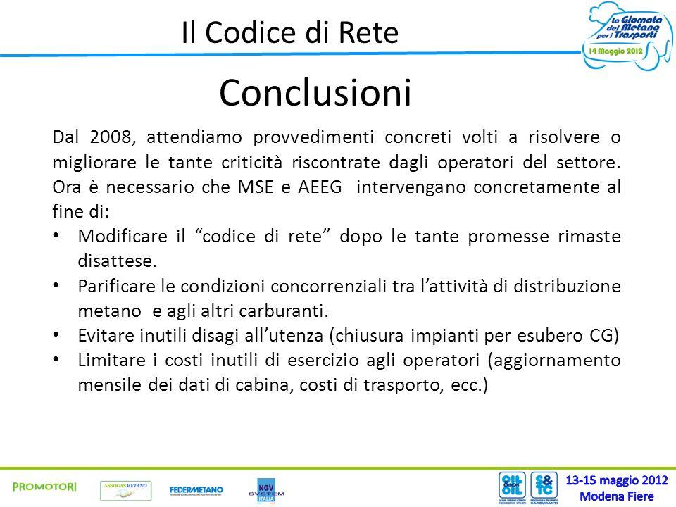 Il Codice di Rete Conclusioni Dal 2008, attendiamo provvedimenti concreti volti a risolvere o migliorare le tante criticità riscontrate dagli operator