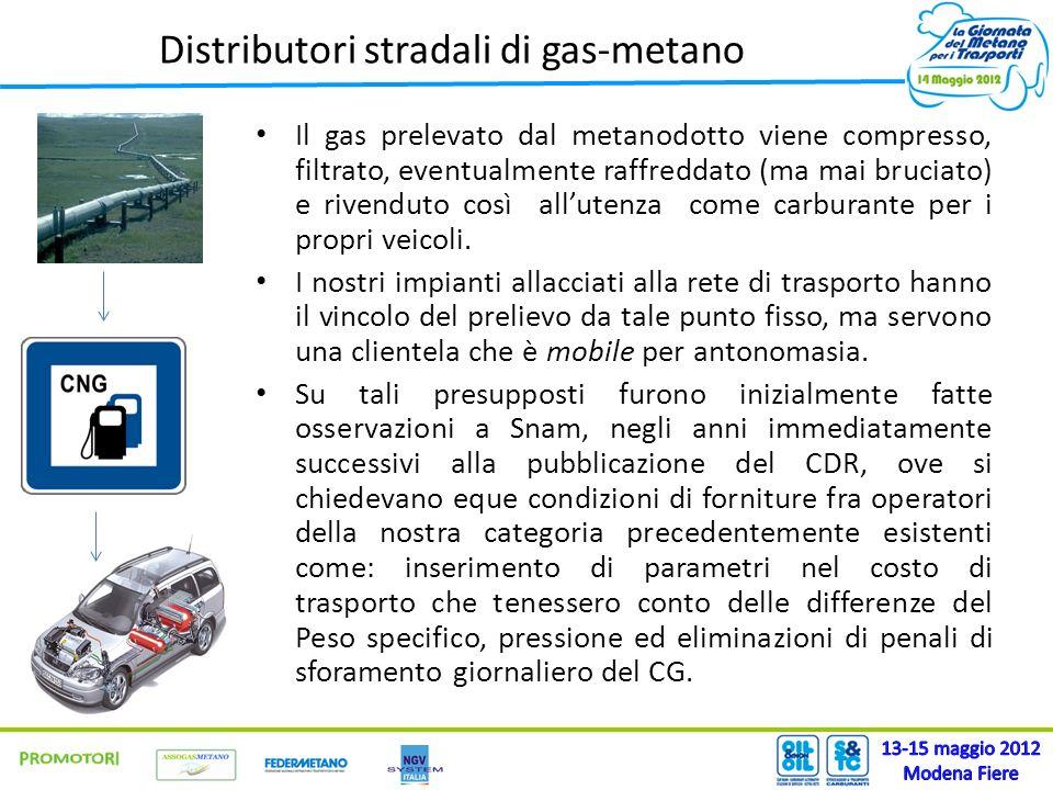 Distributori stradali di gas-metano Il gas prelevato dal metanodotto viene compresso, filtrato, eventualmente raffreddato (ma mai bruciato) e rivendut