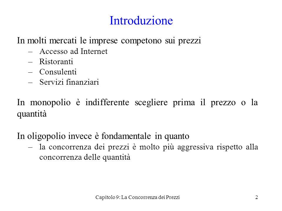 Bertrand in un contesto spaziale (3) p 1 + tx m = p 2 + t(1 – x m ) 2tx m = p 2 - p 1 + t x m (p 1, p 2 ) = (p 2 - p 1 + t)/2t Ci sono in tutto N consumatori La domanda per limpresa 1 èD 1 = N(p 2 - p 1 + t)/2t 23Capitolo 9: La Concorrenza dei Prezzi Negozio 1Negozio 2 Prezzo p1p1 p2p2 xmxm Come è determinato x m .