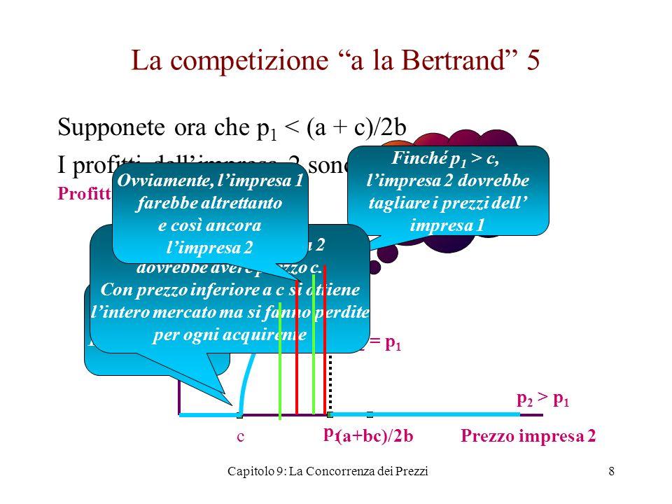 La competizione a la Bertrand (6) Abbiamo ora la funzione di reazione dellimpresa 2 per ogni prezzo praticato dallimpresa 1: –p 2 * = (a + c)/2b se p 1 > (a + c)/2b –p 2 * = p 1 - εse c < p 1 < (a + c)/2b –p 2 * = cse p 1 < c Simmetricamente, per limpresa 1 –p 1 * = (a + c)/2b se p 2 > (a + c)/2b –p 1 * = p 2 - εse c < p 2 < (a + c)/2b –p 1 * = cse p 2 < c 9Capitolo 9: La Concorrenza dei Prezzi
