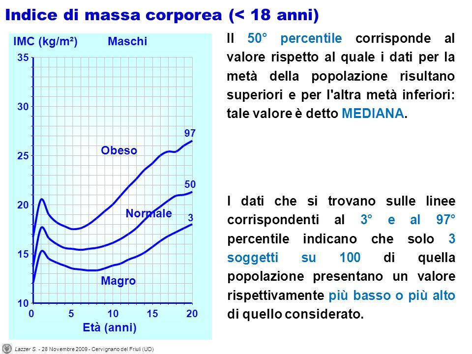 Il 50° percentile corrisponde al valore rispetto al quale i dati per la metà della popolazione risultano superiori e per l altra metà inferiori: tale valore è detto MEDIANA.