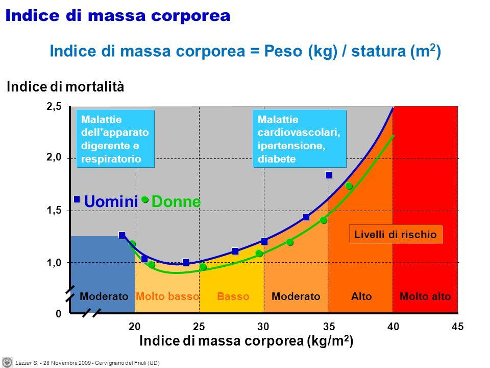 Indice di massa corporea = Peso (kg) / statura (m 2 ) ModeratoMolto bassoModeratoAltoMolto alto Livelli di rischio Malattie dellapparato digerente e respiratorio Malattie cardiovascolari, ipertensione, diabete Indice di massa corporea (kg/m 2 ) Indice di mortalità 202530354045 0 2,5 2,0 1,5 1,0 Basso DonneUomini Indice di massa corporea Lazzer S.