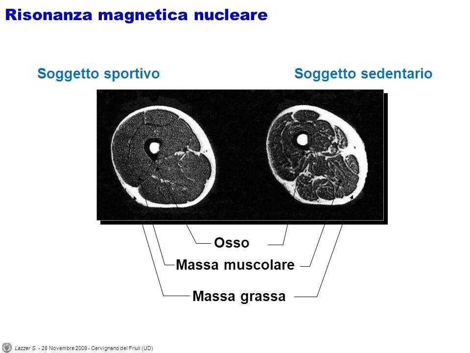 Soggetto sportivoSoggetto sedentario Osso Massa muscolare Massa grassa Risonanza magnetica nucleare Lazzer S.