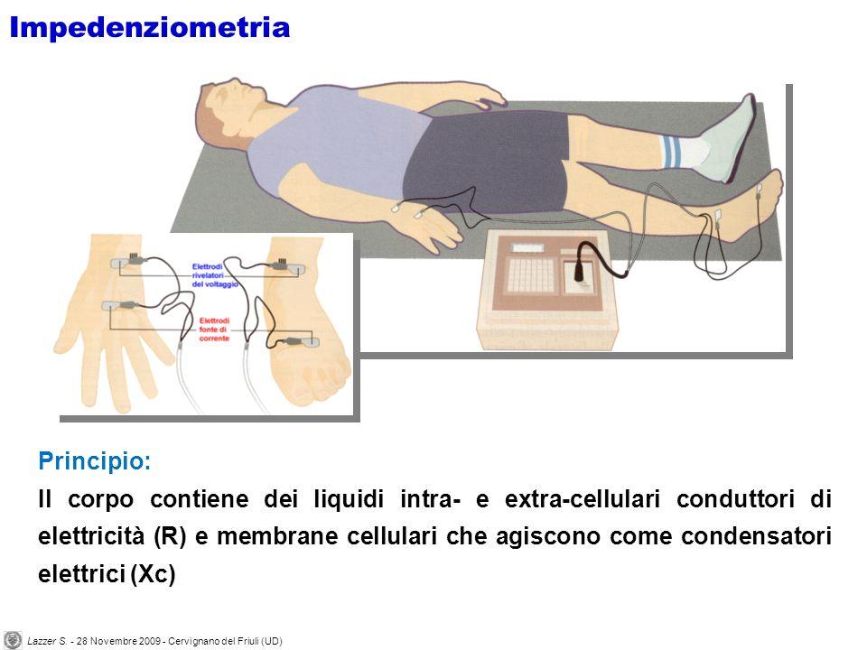 Principio: Il corpo contiene dei liquidi intra- e extra-cellulari conduttori di elettricità (R) e membrane cellulari che agiscono come condensatori elettrici (Xc) Impedenziometria Lazzer S.