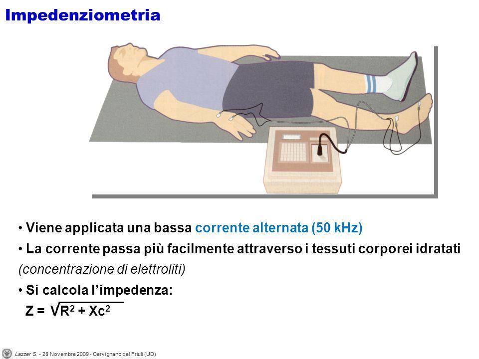 Viene applicata una bassa corrente alternata (50 kHz) La corrente passa più facilmente attraverso i tessuti corporei idratati (concentrazione di elettroliti) Si calcola limpedenza: Z = R 2 + Xc 2 V Impedenziometria Lazzer S.