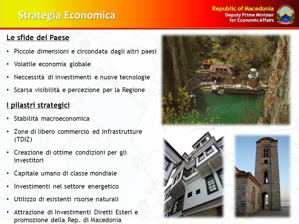 Republic of Macedonia Deputy Prime Minister for Economic Affairs Le sfide del Paese Piccole dimensioni e circondata dagli altri paesi Volatile economi