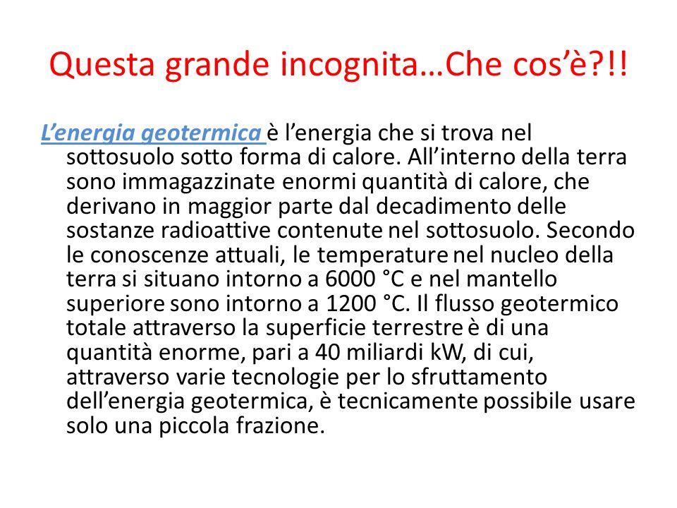Questa grande incognita…Che cosè?!! Lenergia geotermica è lenergia che si trova nel sottosuolo sotto forma di calore. Allinterno della terra sono imma