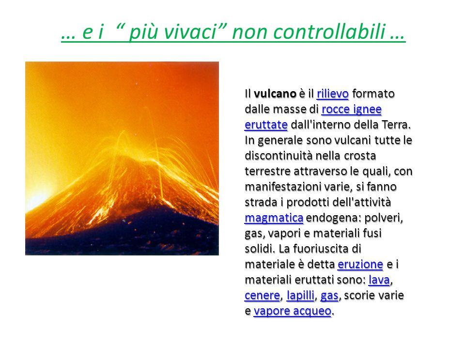… e i più vivaci non controllabili … Il vulcano è il rilievo formato dalle masse di rocce ignee eruttate dall'interno della Terra. In generale sono vu