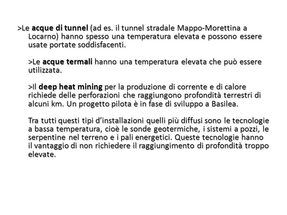 >Le acque di tunnel (ad es. il tunnel stradale Mappo-Morettina a Locarno) hanno spesso una temperatura elevata e possono essere usate portate soddisfa