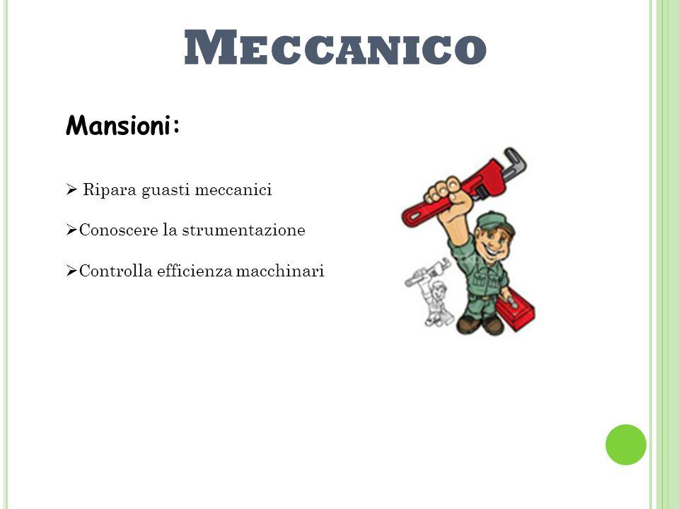 M ECCANICO Mansioni: Ripara guasti meccanici Conoscere la strumentazione Controlla efficienza macchinari