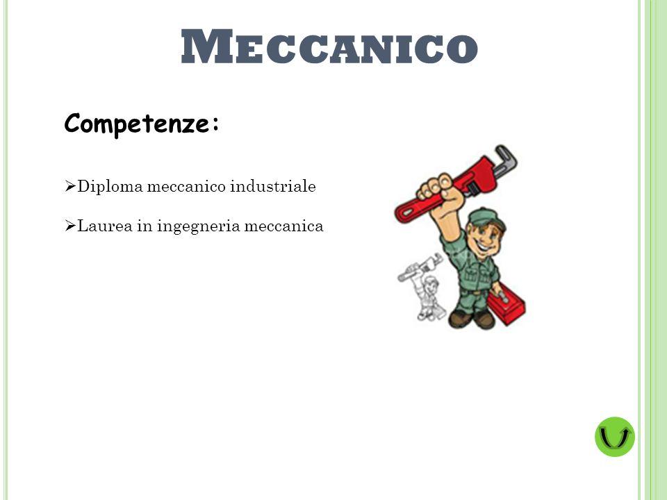 M ECCANICO Competenze: Diploma meccanico industriale Laurea in ingegneria meccanica