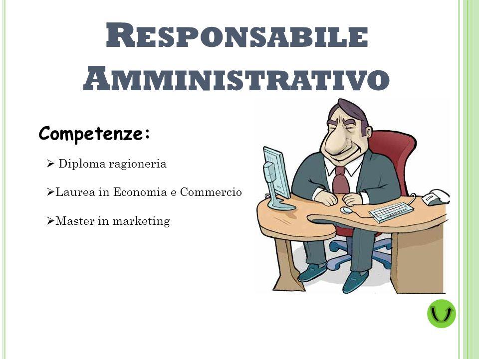 R ESPONSABILE A MMINISTRATIVO Competenze: Diploma ragioneria Laurea in Economia e Commercio Master in marketing