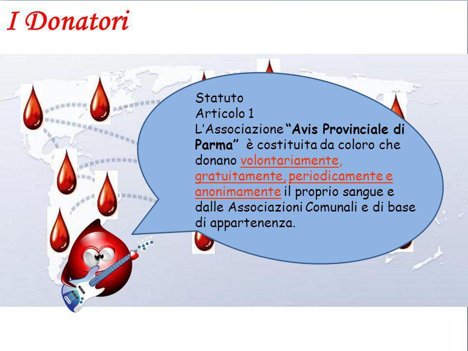 Statuto Articolo 1 LAssociazione Avis Provinciale di Parma è costituita da coloro che donano volontariamente, gratuitamente, periodicamente e anonimam