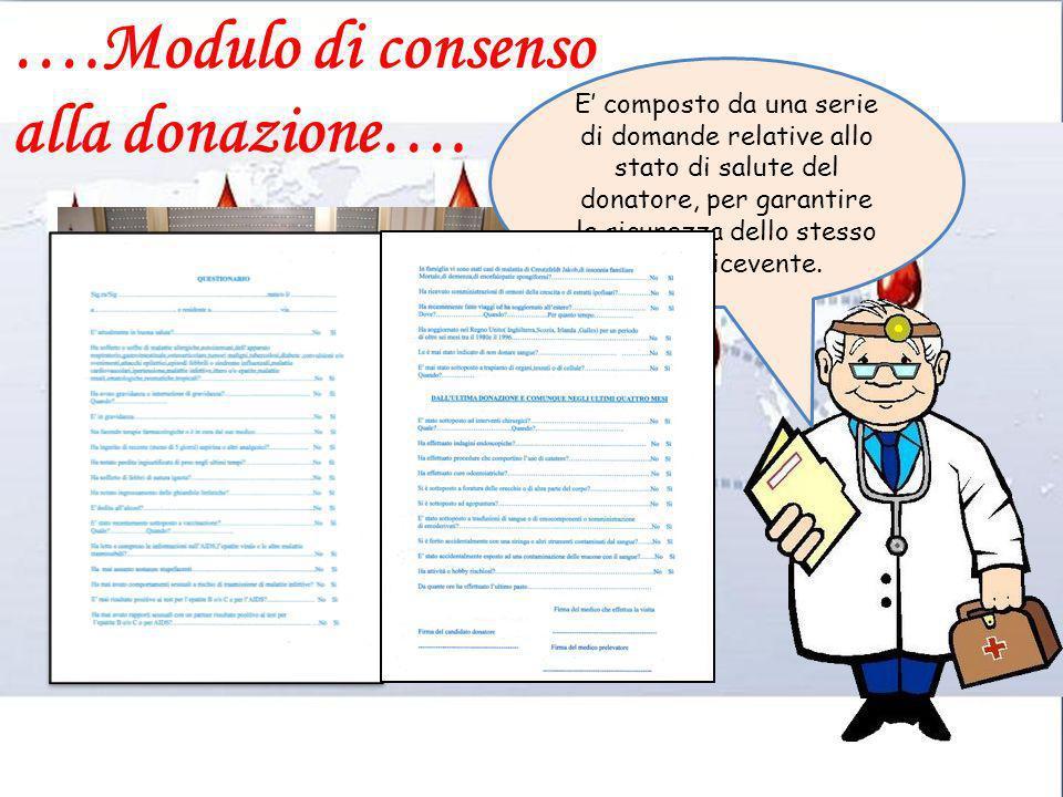 ….Modulo di consenso alla donazione…. E composto da una serie di domande relative allo stato di salute del donatore, per garantire la sicurezza dello
