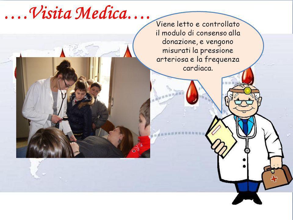 ….Visita Medica…. Viene letto e controllato il modulo di consenso alla donazione, e vengono misurati la pressione arteriosa e la frequenza cardiaca.