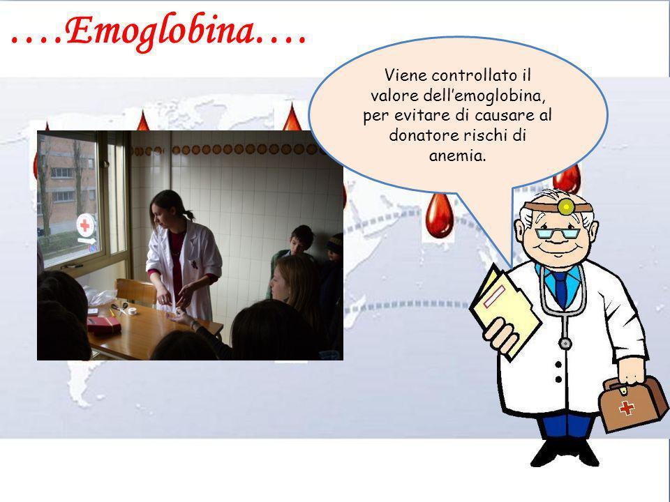 ….Emoglobina…. Viene controllato il valore dellemoglobina, per evitare di causare al donatore rischi di anemia.