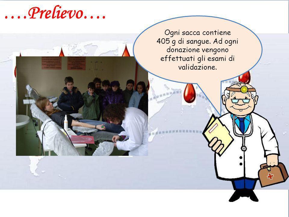 ….Prelievo…. Ogni sacca contiene 405 g di sangue. Ad ogni donazione vengono effettuati gli esami di validazione.