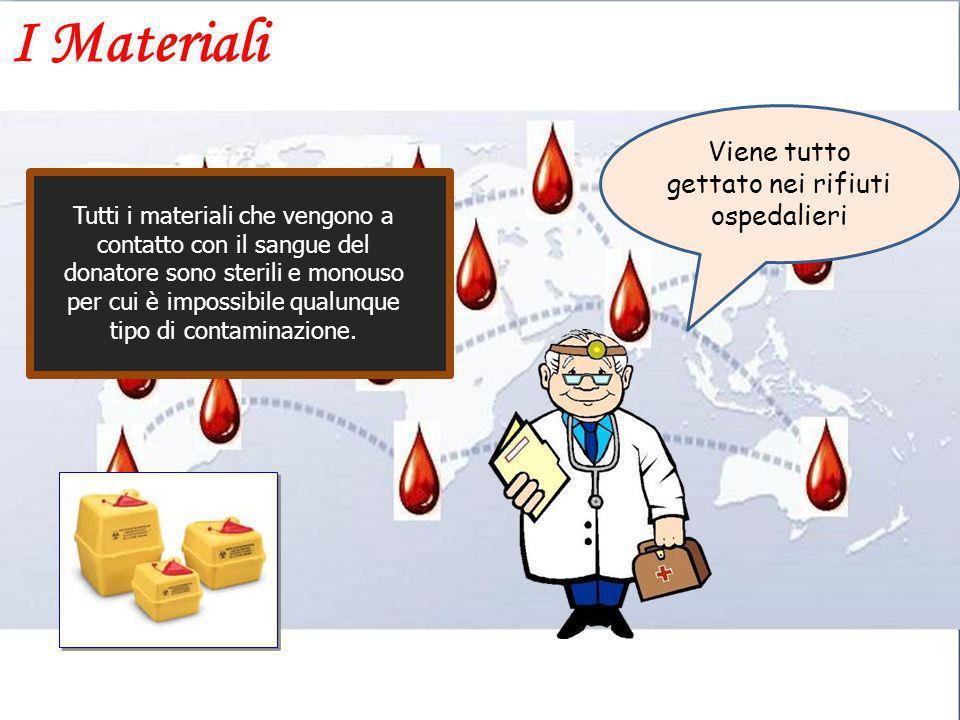 Viene tutto gettato nei rifiuti ospedalieri Tutti i materiali che vengono a contatto con il sangue del donatore sono sterili e monouso per cui è impos