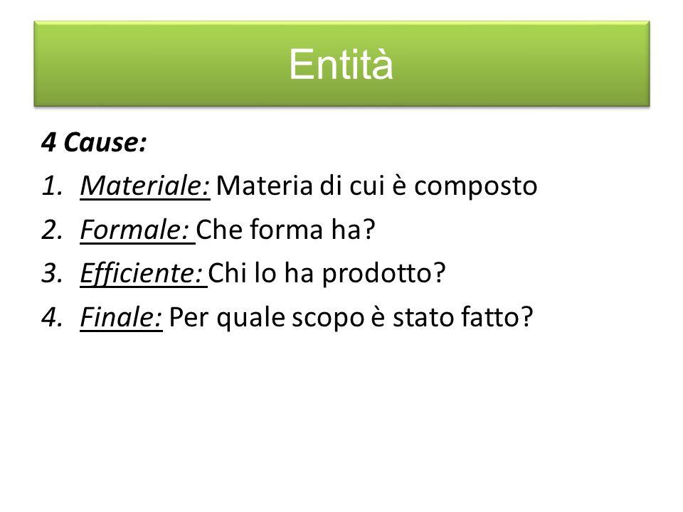 Entità 4 Cause: 1.Materiale: Materia di cui è composto 2.Formale: Che forma ha? 3.Efficiente: Chi lo ha prodotto? 4.Finale: Per quale scopo è stato fa