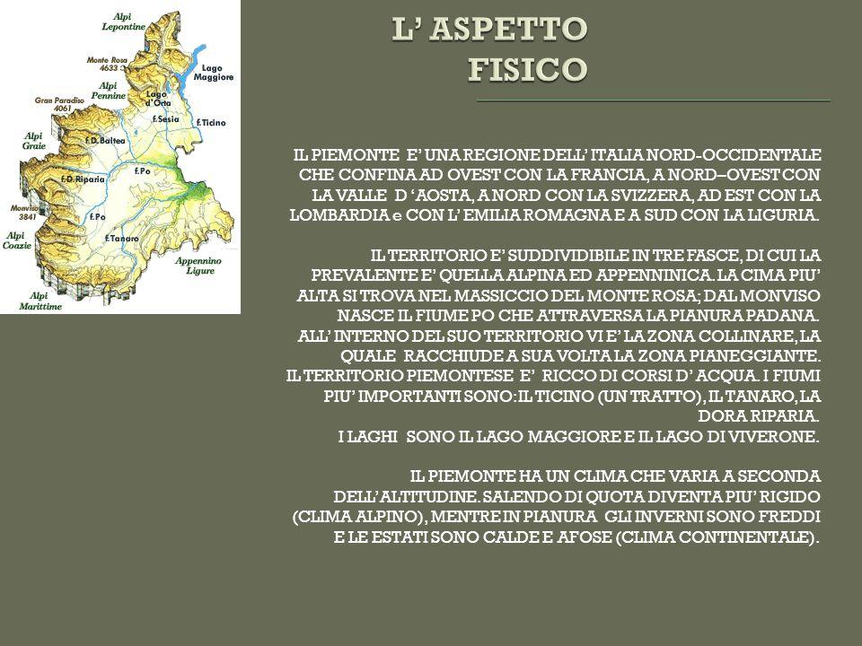 IL PIEMONTE E UNA REGIONE DELL ITALIA NORD-OCCIDENTALE CHE CONFINA AD OVEST CON LA FRANCIA, A NORD–OVEST CON LA VALLE D AOSTA, A NORD CON LA SVIZZERA, AD EST CON LA LOMBARDIA e CON L EMILIA ROMAGNA E A SUD CON LA LIGURIA.